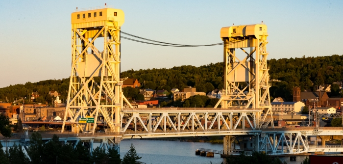 Houghton, MI lift bridge at sunset